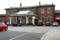 The original 1846 Stockton & Darlington Railway station at Redcar was replaced by this impressive structure when the line was extended east to Marske and Saltburn in 1861. The building, now the Redcar Station Business Centre, is seen here on 13 October 2009 looking south towards the main entrance from Station Road. <br> <br><br>[John Furnevel&nbsp;13/10/2009]