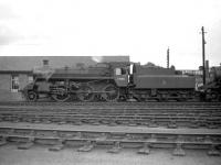 Standard class 3MT 2-6-0 no 77005 on Hamilton shed in July 1959.<br><br>[Robin Barbour Collection (Courtesy Bruce McCartney)&nbsp;29/07/1959]