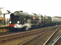 A gleaming Bulleid <I>Merchant Navy</I> Pacific no 35028 <I>Clan Line</I> prepares to leave York station with a special returning south on 14 October 1978.<br><br>[David Pesterfield&nbsp;14/10/1978]