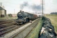 A locomotive associated more with the West Highland Line, Gresley K2 no 61789 <I>Loch Laidon</I> heads west approaching Saughton Junction with a freight in August 1959 on her way back to Eastfield.<br><br>[A Snapper (Courtesy Bruce McCartney)&nbsp;26/08/1959]