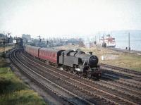 Fairburn 2-6-4T no 42265 takes a Glasgow train away from Gourock on 4 September 1959.<br><br>[A Snapper (Courtesy Bruce McCartney)&nbsp;04/09/1959]