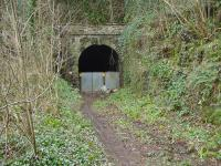The southern portal of Tintern tunnel in March 2002. The branch to Tintern Wireworks veered off left at this point. The tunnel is due to be reopened as a footpath (which will continue across a new bridge to the old Tintern Station) in a Sustrans Connect2 scheme.<br> <br><br>[John Thorn&nbsp;01/03/2002]