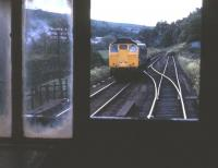 A Class 24 shunting at Dufftown in 1973, seen from the inside of the train's brake van.<br><br>[David Spaven&nbsp;//1973]