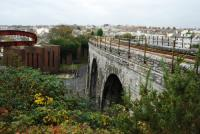 Looking west at Plymouth. The closed line to the left, (with the 'paperclip' sculpture on the dismantled viaduct), was the west to south curve of the branch to Millbay. Behind the camera was the south to east curve and Plymouth station at the junction.<br><br>[Ewan Crawford&nbsp;19/11/2009]