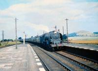 Stanier Coronation Pacific no 46223 <I>Princess Alice</I> glides through Symington on 29 August 1959 with an up Manchester train.<br><br>[A Snapper (Courtesy Bruce McCartney)&nbsp;29/08/1959]