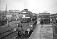 Gresley V2 no 60836 stands at Aberdeen on 5 November 1966 with the BR Scottish Region <I>'Last V2'</I> excursion special, preparing to start the return journey to Edinburgh.<br><br>[Robin Barbour Collection (Courtesy Bruce McCartney)&nbsp;05/11/1966]