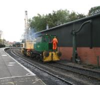 Thomas Hill 'Vanguard' 0-4-0DH locomotive No 1 with the depot crane at Pickering on 12 October 2009.  <br> <br><br>[John Furnevel&nbsp;12/10/2009]