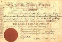 Share certificate issued by The Leslie Railway in 1863. This particular certificate is made out to John Fergus and his partner Andrew Wylie who owned the Prinlaws flax mill at Leslie (a building demolished in the 1960s). The branch lost its passenger service in 1932 but continued to serve the various mills (latterly paper) along the Leven Valley until 1967. [See image 23083]  <br><br>[Ian Dinmore&nbsp;05/04/2009]