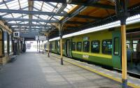 The IE terminus at Howth in May 2008 with a DART service awaiting departure for Dublin Connolly.<br> <br><br>[Colin Miller&nbsp;23/05/2008]