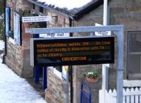 Conflicting evidence at Aberdour station on Sunday 10 January.� It <br> can't be 0602: in fact it's 1026.� In what seems to me a bizarre fault the CIS display on the northbound plaform got stuck early one morning in the last days of 2009 as if frozen in the prolonged cold spell.� Well there's a thaw today but it hasn't started moving again... <br> <br><br>[David Panton&nbsp;10/01/2010]