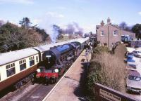 90775 westbound at Ropley on the Mid Hants Railway on 5 April 1987. <br><br>[Peter Todd&nbsp;05/04/1987]