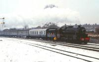 Preserved Black 5 no 5305 in LMS livery leaving Driffield for Scarborough on a snowy 28 December 1981.<br> <br><br>[Peter Todd&nbsp;28/12/1981]