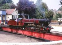 4-8-2 locomotive <I>Hercules</I> being turned on the RHDR at Hythe in August 1990... Built by Paxman's of Colchester I believe. Some A3 similarities perhaps..??<br> <br><br>[Peter Todd&nbsp;04/08/1990]