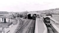 View from the footbridge over the SRPS terminus at Bo'ness, in 1985.<br> <br><br>[Colin Miller&nbsp;//1985]