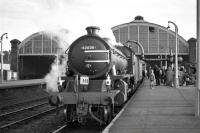 K1 no 62005 takes on water at Stockton during a stop with the SLS <I>Three Dales Railtour</I> on 20 May 1967. [See image 39894]<br><br>[Robin Barbour Collection (Courtesy Bruce McCartney)&nbsp;20/05/1967]