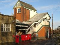 The imposing former Great Western Railway staircase and lift tower to the footbridge at the North end of Wrexham General station, photographed in December 2009. <br><br>[David Pesterfield&nbsp;23/12/2009]