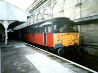 47 737 <I>Resurgent</I> stands at the former platform 20 at Edinburgh Waverley in February 1999 with an EWS charter.<br><br>[David Panton&nbsp;/02/1999]