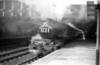 Castle class 4-6-0 no 7023 <I>Penrice Castle</I> with the Paddington-bound <I>Red Dragon</I> at Newport High Street in June 1959.<br><br>[Robin Barbour Collection (Courtesy Bruce McCartney)&nbsp;29/06/1959]