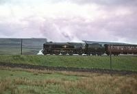 Rebuilt Merchant Navy Pacific no 35012 <I>United States Lines</I> seen on 13 June 1964 passing Shap Wells with the RCTS <I>Solway Ranger</I> heading for Carlisle.<br><br>[Robin Barbour Collection (Courtesy Bruce McCartney)&nbsp;13/06/1964]