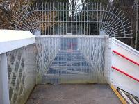 The blocked off redundant section of the station footbridge that once spanned the goods lines behind platform 2 on the west side of Ruabon Station, photographed in December 2009.<br><br>[David Pesterfield&nbsp;15/12/2009]