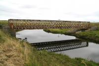 View south along the River Thurso south west of the village of Halkirk, Caithness, on 28 August 2007, showing the lattice girder bridge that carries the Far north line across the river.<br><br>[John Furnevel&nbsp;28/08/2007]