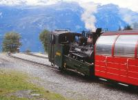 Passing loop at Planalp, the halfway station, on the Brienz Rothorn Railway, Switzerland, in September 1994. <br><br>[Peter Todd&nbsp;15/09/1994]