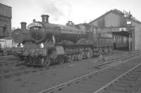 The shed yard at Aberystwyth in the summer of 1962. 7823 <I>Hook Norton Manor</I> carries the headboard of the Cambrian Coast Express, during a period when the locomotive's home shed was at Machynlleth. Standing alongside is no 3200, a long term Cambrian lines locomotive. <br> <br><br>[K A Gray&nbsp;14/08/1962]