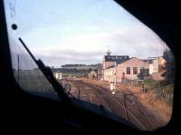 One of the perks of doing rail freight studies in the 1990s! The photographer has a Class 37 'secondman's view' of Kennethmont box and the Ardmore Distillery sidings on an Inverness-Aberdeen 'Enterprise' service in the summer of 1995. [See image 12447]<br> <br><br>[David Spaven&nbsp;//1995]