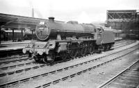An easy number to remember... Jubilee class 4-6-0 no 45678 <I>De Robeck</I> stands on the centre road at the south end of Carlisle station in July 1958 awaiting the arrival of a train from the north. <br><br>[Robin Barbour Collection (Courtesy Bruce McCartney)&nbsp;05/07/1958]