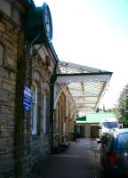 Main entrance to the former station at Alnwick in August 2007. Closed to passengers in 1968, the station building now houses one of the largest second hand bookshops in Europe.<br><br>[John Furnevel 08/08/2007]