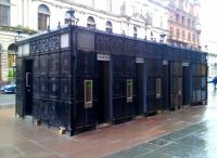 The public toilet on St Vincent Street, Glasgow, has been refurbished and extended [see image 18832]. The fencing around this structure (which comes originally from the old Glasgow Cross station) had been removed during the course of this work to allow the formation of several individual cubicles. This successful transformation has led to the closure of an older public convenience nearby, resulting in significant savings.<br><br>[Colin Harkins&nbsp;23/01/2010]