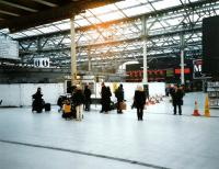 The western concourse at Waverley seen in November 1998 during the <br> construction of the W H Smith's block which took up so much of the <br> space, though with a curving front to ease passenger flow.� The shop's predecessor can just be seen on the right.� Notice also the short-lived bi-coloured LED departure board, which gave way a few years later to the all-yellow style used throughout the network.<br> <br><br>[David Panton&nbsp;/11/1998]