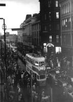 A Coronation Mark II tram, aka <I>Cunarder</I> photographed on 4 September 1962 passing along Jamaica Street during Glasgow's <I>Last Tram Procession</I>.<br> <br><br>[Colin Miller&nbsp;04/09/1962]