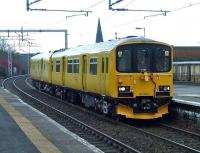 The Network Rail track assessment unit 950001 at Paisley Gilmour Street heading west on 23rd January 2010 <br><br>[Graham Morgan&nbsp;23/01/2010]