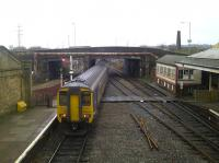 A Northern trains Whitehaven - Carlisle service departing Workington towards the temporary station at Workington North on 16 January 2010<br><br>[Brian Smith&nbsp;16/01/2010]