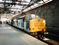 37 430 <I>Cwmbran</I> stands at the old platform 10 at Waverley in July 1997 with the <I>Royal Scotsman</I>. <br><br>[David Panton&nbsp;/07/1997]