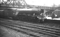 Sleek-looking A3 Pacific no 60036 <I>Columbo</I> makes a stop at Doncaster with an ECML service heading for Kings Cross in the 1960s.<br><br>[K A Gray&nbsp;//]