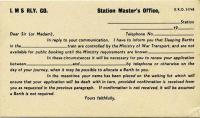 Wartime LMS form 51748, containing information regarding sleeper accommodation on the ______ sleeper to _______ from the station master at ________ dated ________.  <br><br>[Colin Miller&nbsp;17/03/2005]