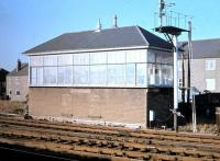 View north across the running lines at Saughton Junction in 1975 with the new cls system fully operational and the redundant signal box closed and shuttered.<br><br>[Neil McWilliam&nbsp;//1975]