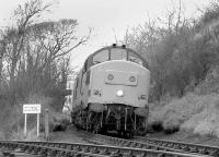 37240 approaching Braeside Junction from the north on 13 January 1993 with the second last train to RNAD Crombie. The warning notice at the end of the line running in on the left from the armament depot states clearly <I>MOD PROPERTY - NO RIGHT OF WAY</I>. <br><br>[Bill Roberton 13/01/1993]