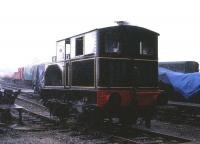 Sentinel 0-4-0 no 6515 of 1926 in operation at the Buckinghamshire Railway Centre, Quainton Road, on a very wet day in April 1986.<br><br>[Peter Todd&nbsp;01/04/1986]