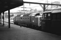 Deltic no 55003 <I>Meld</I>, at the head of an ECML service, standing alongside 31405 on empty stock duty at Kings Cross on 27 June 1978<br><br>[Peter Todd&nbsp;27/06/1978]