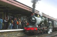 <I>City of Truro</I> stands at Aviemore on 28 August 2006 after bringing in a train from Broomhill. <br><br>[Bill Roberton&nbsp;28/08/2006]