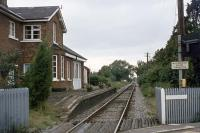 The passenger service to Bledlow, sited on the former Princes Risborough to Oxford line, ended in 1963 and the last freight traffic (latterly oil and cars) passed through in 1991. This photograph shows the station on 30th August 1977 when the line still had regular business. Today, the former station is open for bed and breakfast, with a four poster bed available if desired.<br><br>[Mark Dufton 30/08/1977]
