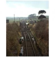 Track lifting in progress at Wigtown station on the Whithorn branch in April 1965. View south over the former station from the bridge carrying Harbour Road. Wigtown lost its passenger service in 1950 with the branch back to Newton Stewart finally closing in 1964. <br><br>[Frank Spaven Collection (Courtesy David Spaven)&nbsp;/04/1965]