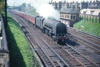 Thompson A2 Pacific no 60516 <I>Hycilla</I> takes an ECML service south past Craigentinny signal box in June 1958.<br><br>[A Snapper (Courtesy Bruce McCartney)&nbsp;/06/1958]