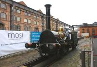 No 9... no, not <I>Union of South Africa</I>, but a working replica of the historic 2-2-0 locomotive <I>Planet</I>, seen between the former warehouses at what is now the Museum of Science and Industry (MOSI) in Manchester on 4 February 2010. The locomotive was in steam to coincide with the visit of HRH the Prince of Wales and the Royal Train, hauled into the museum by A1 pacific <I>Tornado</I>.<br> <br><br>[John McIntyre&nbsp;04/02/2010]