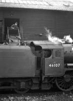 Polmadie Royal Scot no 46107 <I>Argyll and Sutherland Highlander</I> being coaled at 64C Dalry Road shed on 24th March 1962. <br><br>[Frank Spaven Collection (Courtesy David Spaven)&nbsp;24/03/1962]