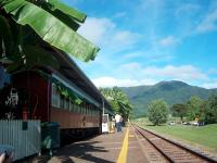 A view of the restaurant cars which make up the restaurant at Freshwater Station on the Kuranda Scenic Railway, Queensland. Photographed in May 2005.<br><br>[Brian Smith&nbsp;08/05/2005]