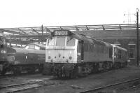 Sulzer Type 2 (class 25) no D7512 on Saltley Shed in November 1969. Sister locomotive no D7604 is attached to one of the short lived brake tenders, designed for use when working non or partially fitted freights.<br><br>[Bill Jamieson&nbsp;01/11/1969]